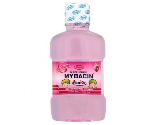 Детский ополаскиватель для рта со фтором клубничный Mybacin 95 мл