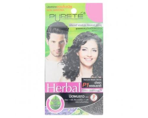 Травяной оттеночный шампунь для блеска волос цвет Черный