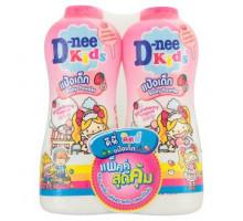 Детская присыпка D-nee Клубника и Йогурт 2 бутылки по 450 грамм